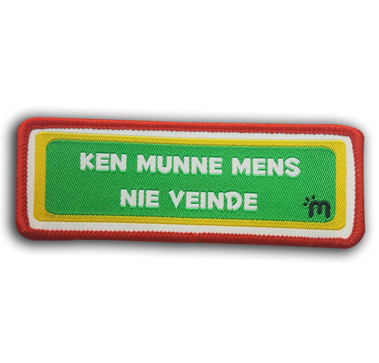 Tekst embleem Ken munne mens nie veinde